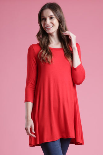 3/4 Sleeve A Line Top - CORAL - T54