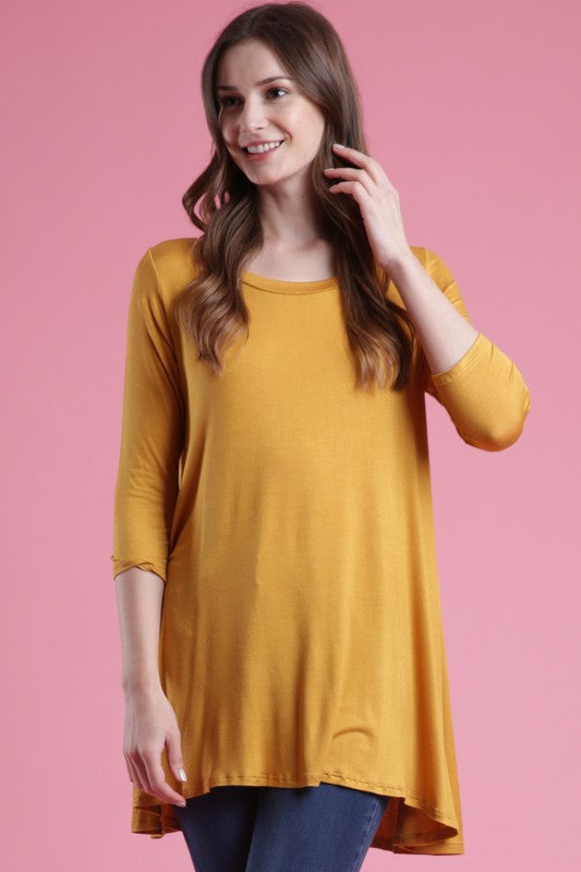 3/4 Sleeve A Line Top - MUSTARD - T53