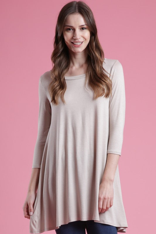 3/4 Sleeve A Line Top - OATMEAL - T56