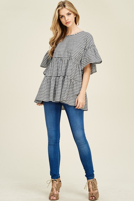 Gingham Ruffle Top with Ribbon Back - T457