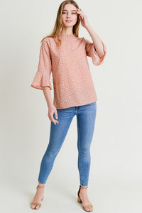 Polka Dot 3/4 Sleeve Top - T364