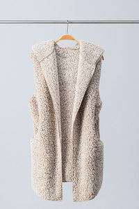 Oatmeal Hooded Sherpa Vest - T230