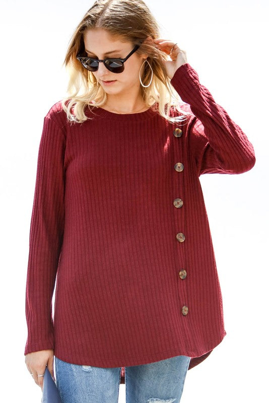 Wine Ribbed Knit Top - T256