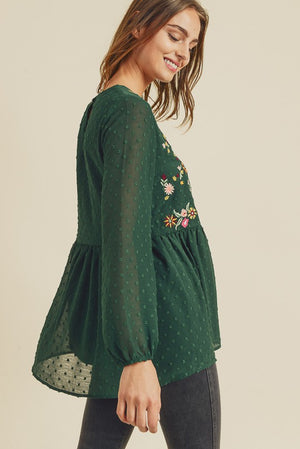 Hunter Green Embroidery Top