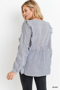 Striped Babydoll Top - T467