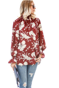 Wine Floral Top - T289