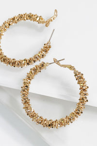 Gold Textured Hoop Earrings - B71