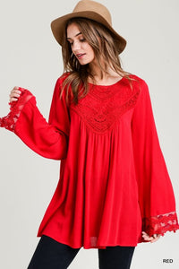 Red Wide Sleeve Top - T319