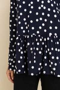 Navy Polka Dot Peplum Top - T367