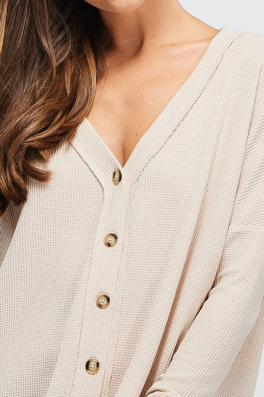 Nude Thermal Button Down - T286