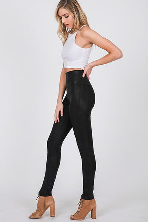 Black Faux Leather Leggings- T1069