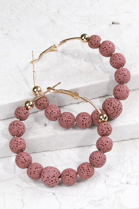 Beaded Hoop Earrings (Mauve Pink)