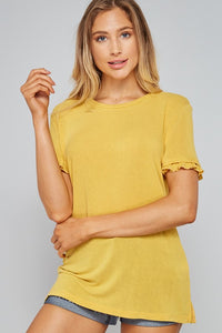 Mustard Ruffle Sleeve Top - T371