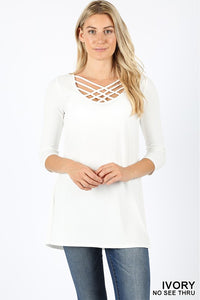 Ivory Lattice Top - T343