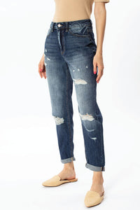 Dark Wash Distressed Mom Jeans
