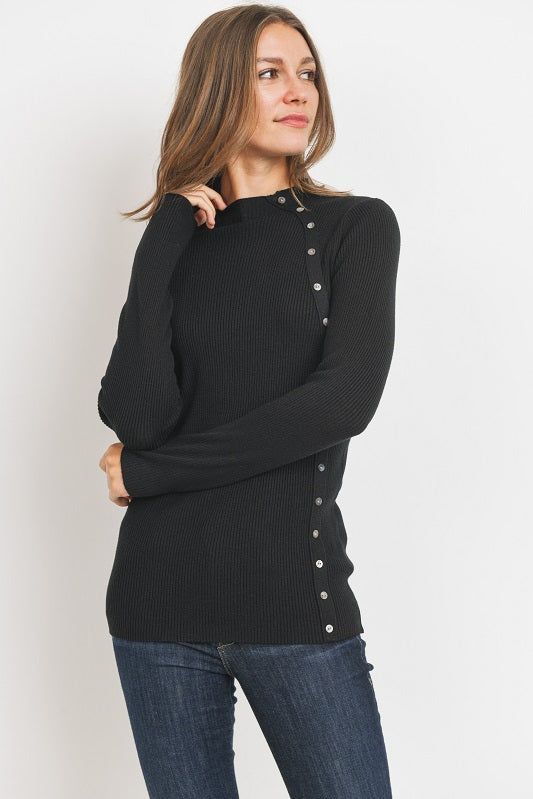 Black Side Button Sweater