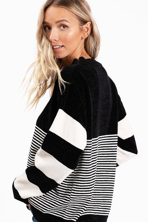 Black Stripe Sweater - T1040