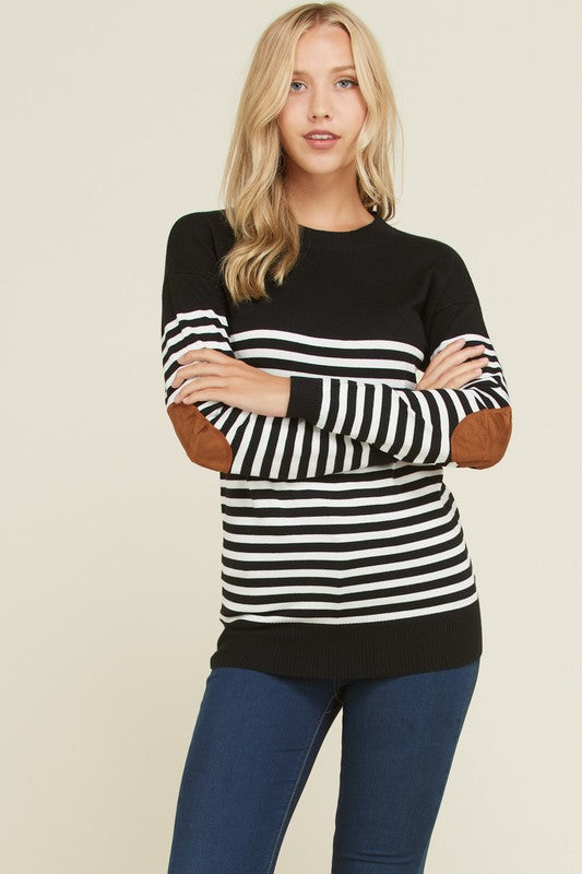 Black Elbow Patch Sweater