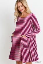Burgundy Stripe Tunic Dress with Pockets - T321