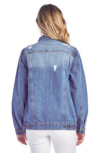 Distressed Denim Jacket - T144