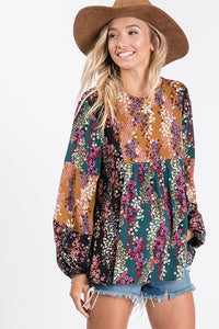 Floral Woven Top- T1051