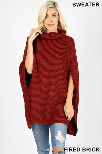 Fired Brick Poncho Sweater - T189