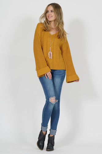 Oversized Wide-Sleeve Cable Knit Sweater T263