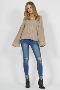 Oversized Wide-Sleeve Cable Knit Sweater T262