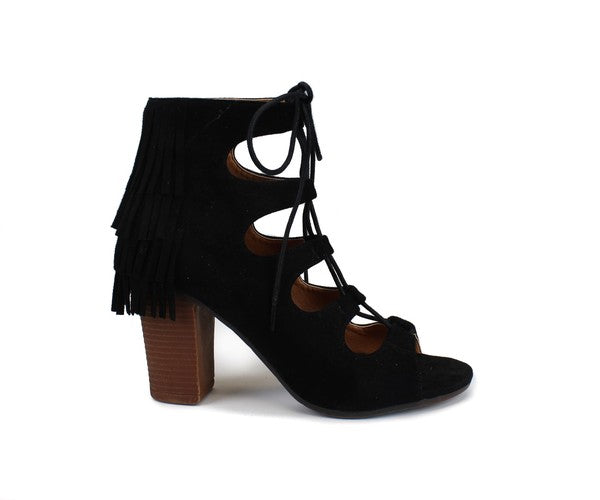 Mora Fringe Lace Up Booties -T95