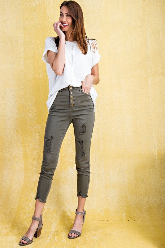 Olive Button Fly Pants