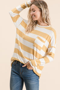 Cream Striped Long Sleeve Top