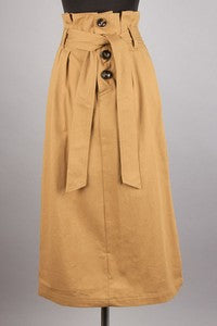 Camel Button Skirt - T235