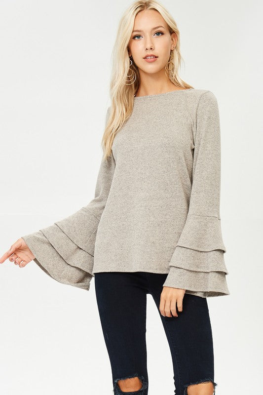 Light Taupe Trumpet Sweater - T34