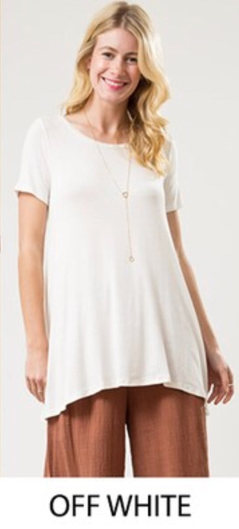 A Line Tunic T Shirt Top - Off White - T60