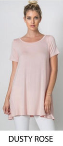 A Line Tunic T Shirt Top - Dusty Rose - T58