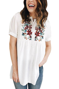 White Embroidered Top - T185