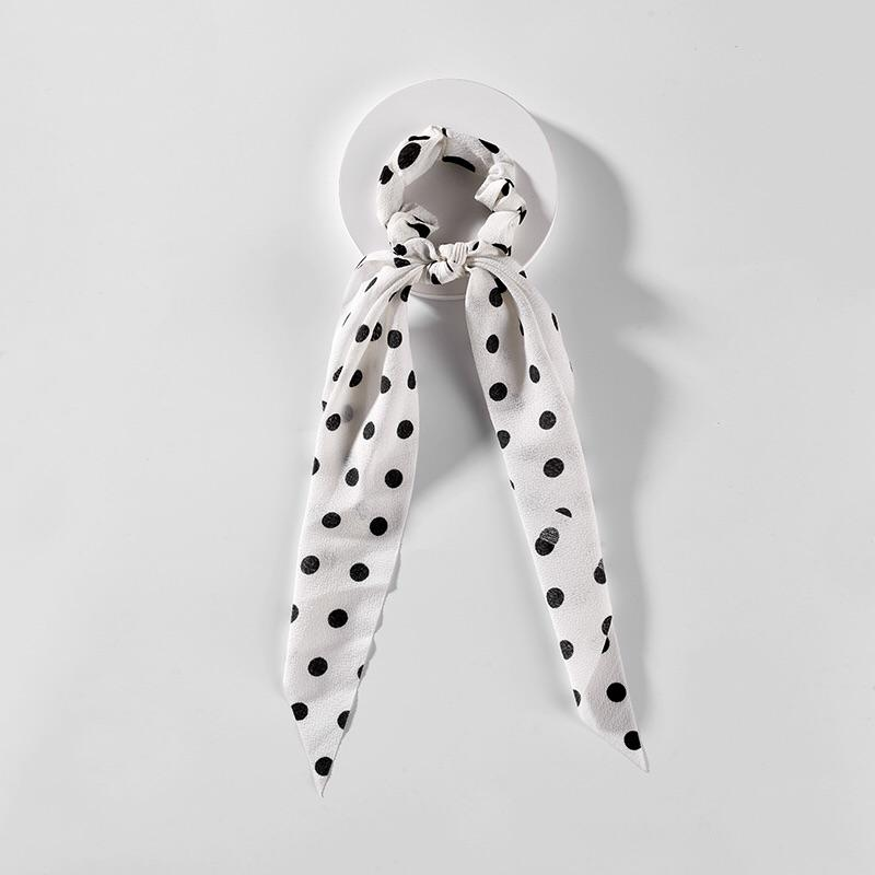 White/Black Polka Dot Hair Scarf