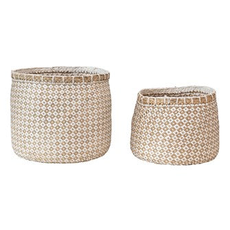 Seagrass & Paper Baskets Set of 2