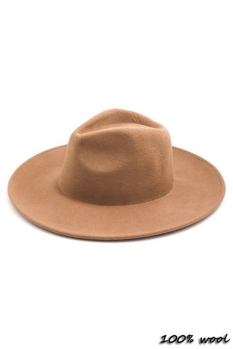 Cognac Wide Brim Wool Hat