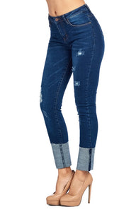 Cuffed Distressed Denim - T164