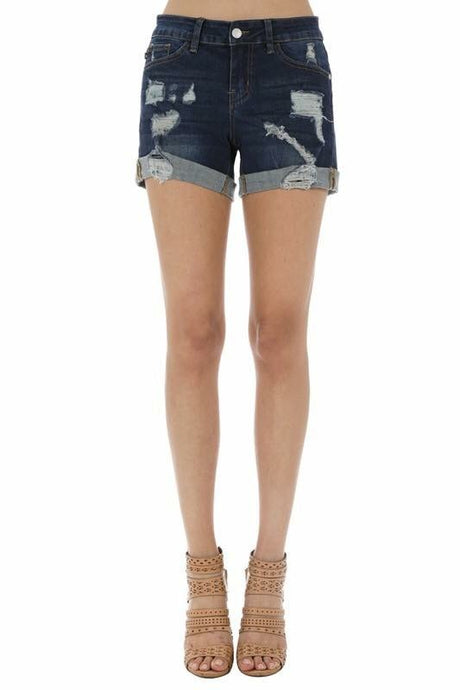 Denim Distressed Shorts -T115