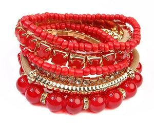 Red Mix Bracelet Stack- B36