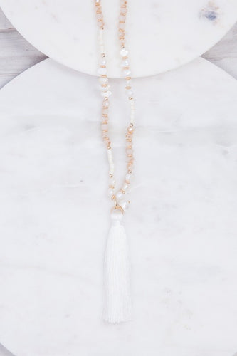 Gold White Tassel Necklace- B33