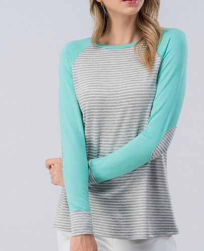 Mint Stripe Baseball Tee - T389