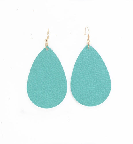 Teal Leather Earrings- B30