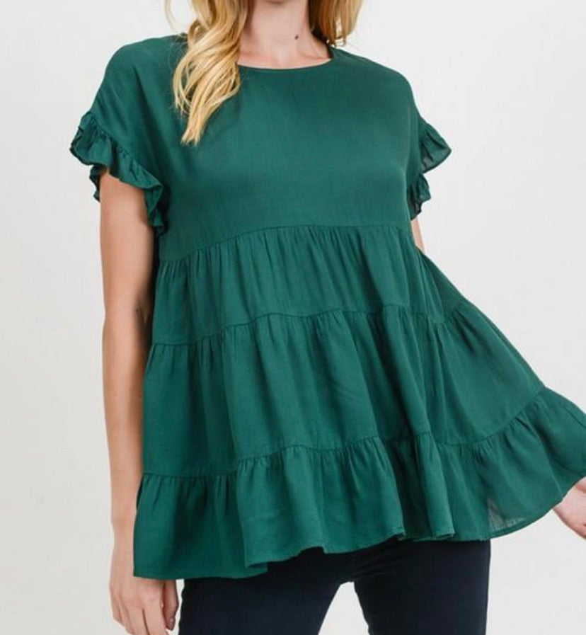 Hunter Green Tiered Top