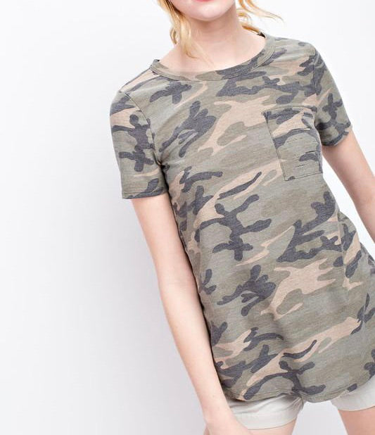 Camo French Terry Top - T462