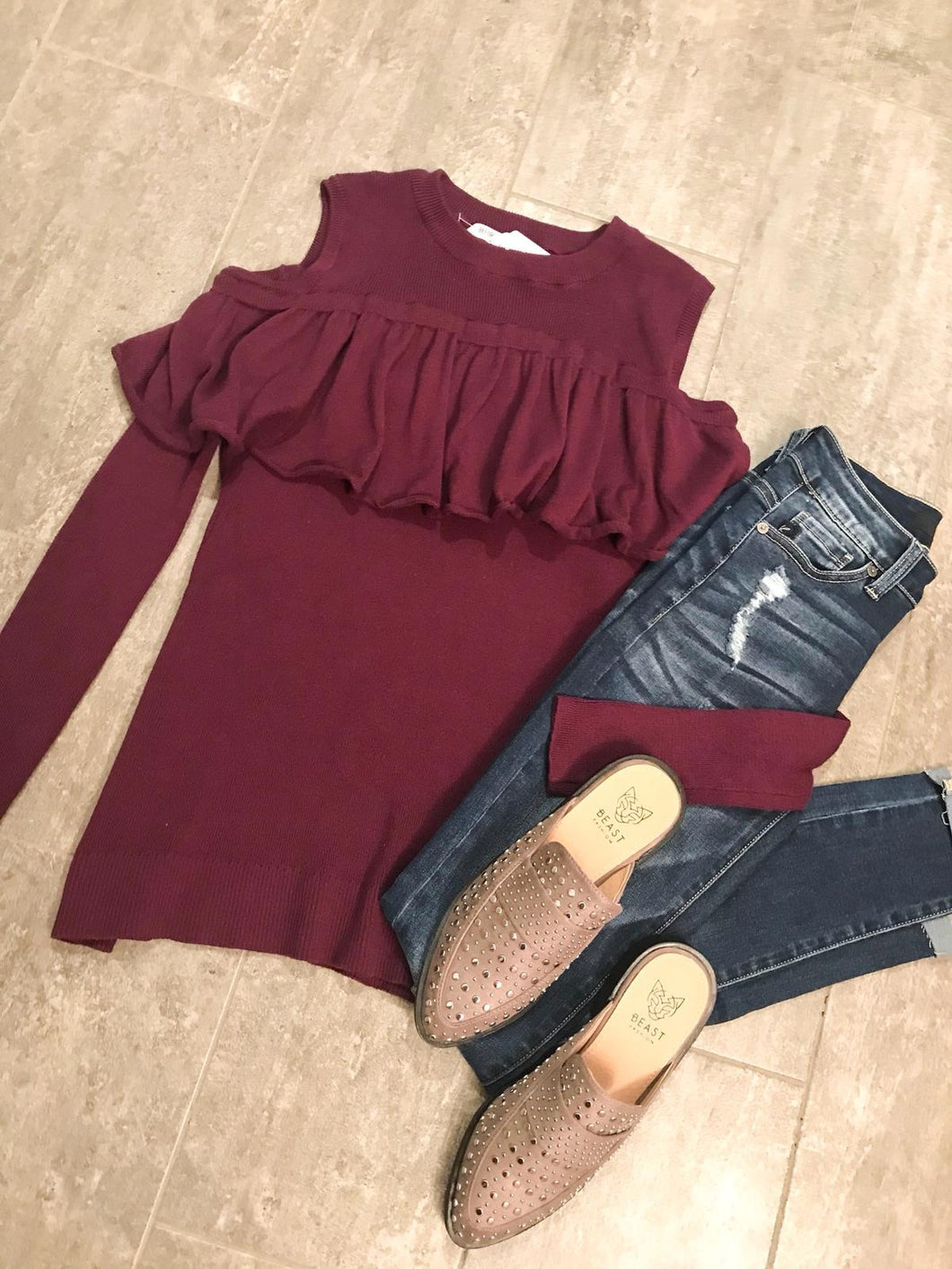 Plum Cold Shoulder Sweater T211