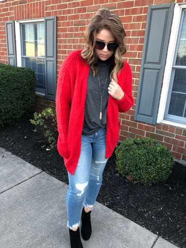 Cable Knit Cardigan - Red - T240