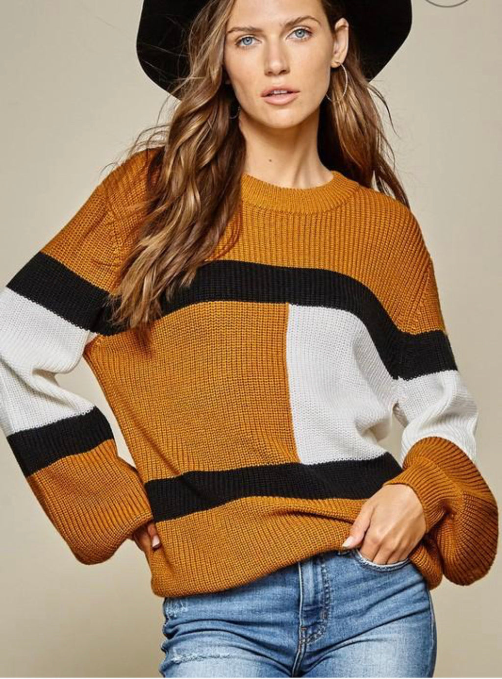 Colorblock Mocha Sweater